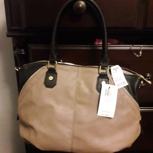 Steve Madden NWT tan/black leather purse